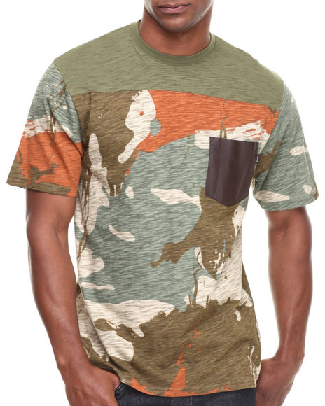 BLVCK SCVLE Camo,Olive Morgan Overdyed Leather Chest Pocket Tee