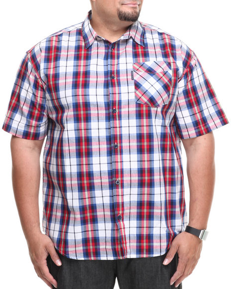 Ecko Blue,Multi In The Red Plaid S/S Button-Down (Big & Tall)