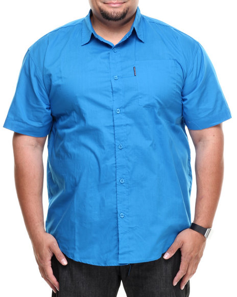 Ecko Blue Solid S/S Button-Down (Big & Tall)