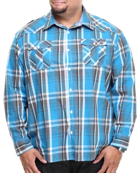 Ecko Blue Hoodlum L/S Button Down (Big & Tall)