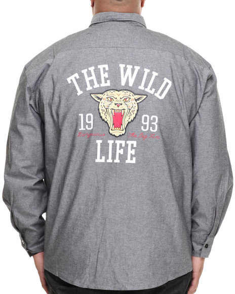 Ecko Black Wild Life L/S Button Down (Big & Tall)