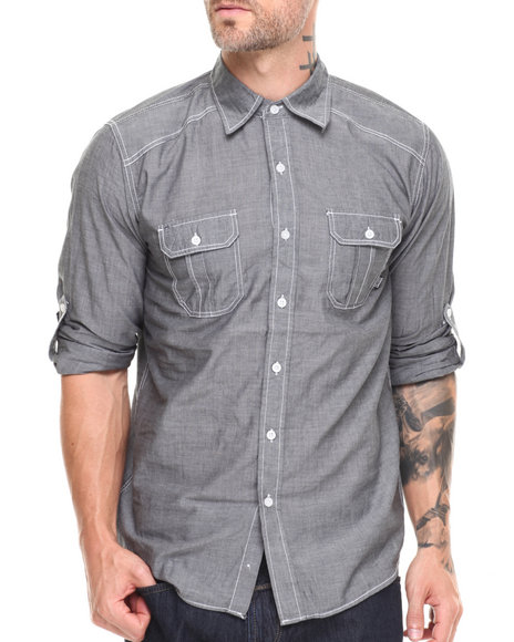 Buyers Picks - Men Grey Contrast Chambray L/S Button Down