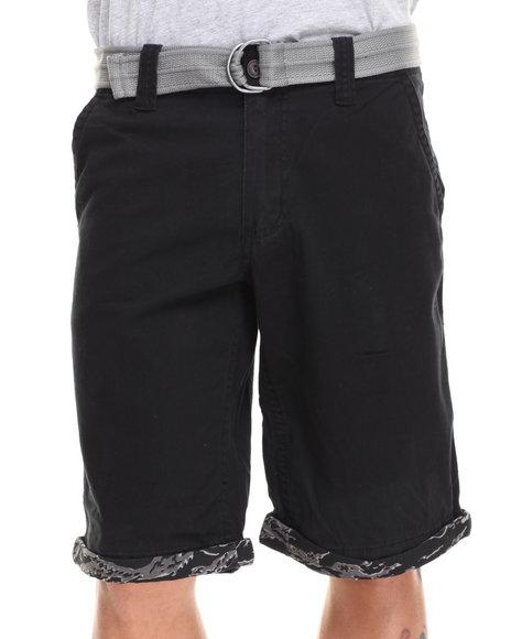 Buyers Picks - Men Black Camo Cuffed Belted Twill Short
