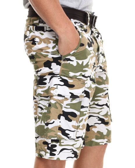 Buyers Picks - Men White Belted Camo Cargo Short