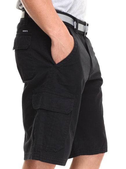 Buyers Picks - Men Black Belted Twill Cargo Short