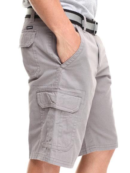 Buyers Picks - Men Grey Belted Twill Cargo Short