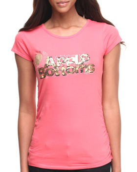Apple Bottoms - Bling Cheetah Logo Scoop Neck Tee