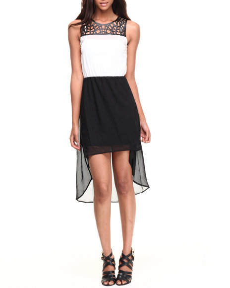 Almost Famous - Women Black,White Vegan Leather Cut-Out Yoke Chiffon Hi-Lo Hem Dress - $13.99