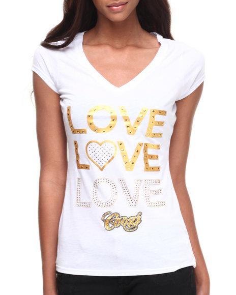 Coogi Love, Love, Love V-Neck Tee White Medium