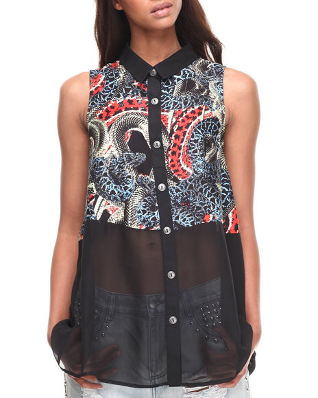 Evil Twin - Women Multi Snakes Alive Shirt - $36.99