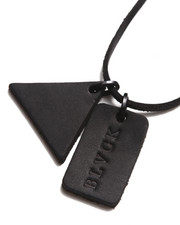 BLVCK SCVLE - Black Trinity Leather Dog Tag Necklace