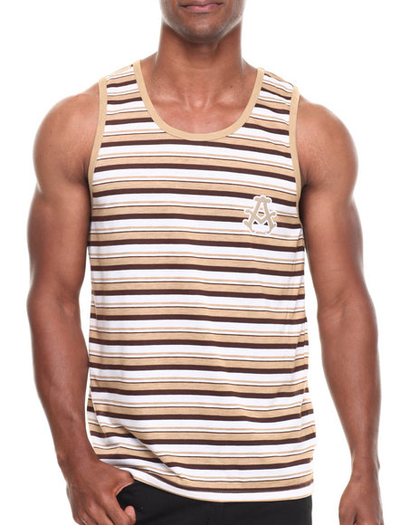 Akademiks - Men Khaki Roscoe Striped Tank - $6.99