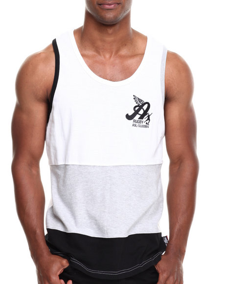 Akademiks - Men White Nixon Color Block Tank - $13.99