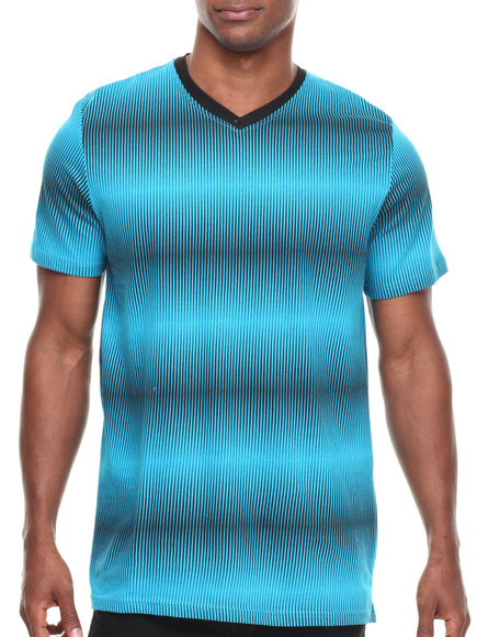 Buyers Picks - Men Blue Allover Print V-Neck Tee