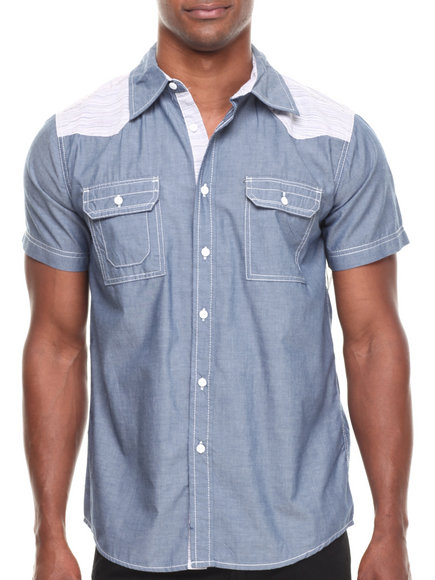 Buyers Picks - Men Blue S/S Chambray Button Down