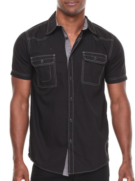 Buyers Picks - Men Black Contrast Trim S/S Button Down