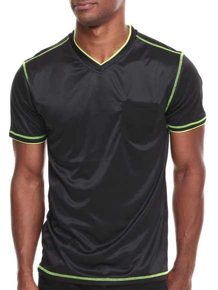 Buyers Picks - Men Black Mesh Pocket V-Neck Active Tee