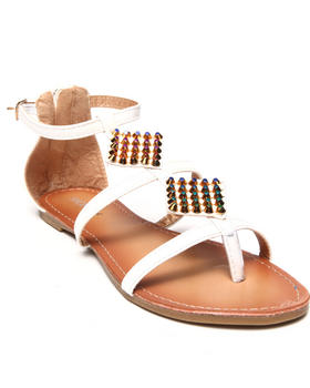 Fashion Lab - Luane Flat Sandal w/ Diamond Shaped Stud Detail