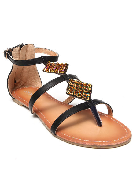 Fashion Lab - Luane Flat Sandal w/ Diamond Shaped Stud Detail