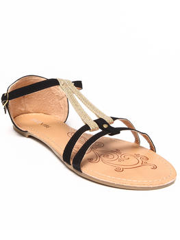 Fashion Lab - Liliana Two-Tone Double Strap Flat Sandal