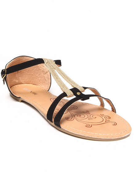 Fashion Lab - Liliana Two-Tone Double Strap Flat Sandal