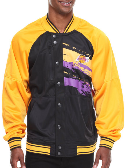 Nba, Mlb, Nfl Gear - Men Yellow,Black Los Angeles Lakers Kareem Varsity Jacket