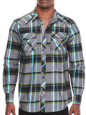 Buyers Picks - Plaid L/S Button Down w/ Chambray Trim