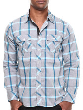 Buyers Picks - Poplin Trim Plaid L/S Button Down