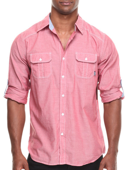 Buyers Picks - Men Red Contrast Chambray L/S Button Down