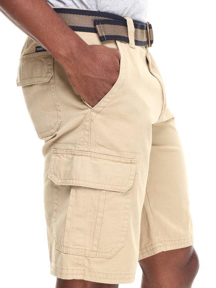 Buyers Picks - Men Khaki Belted Twill Cargo Short