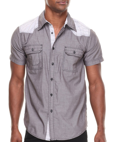 Buyers Picks - Men Grey S/S Chambray Button Down