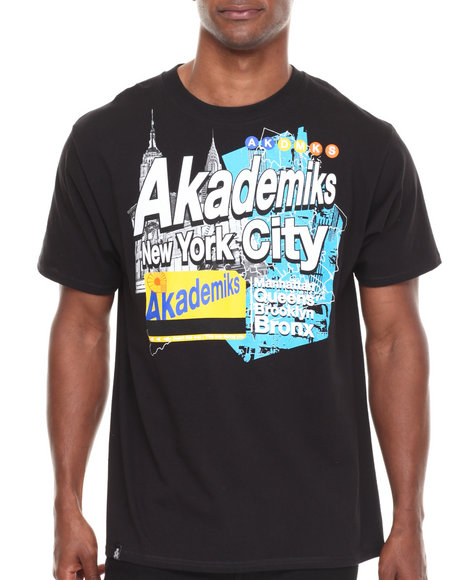 Akademiks - Men Black Rail Rider S/S Tee - $11.99