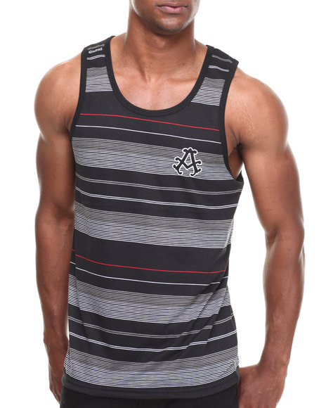 Akademiks - Men Black Fulton Striped Tank