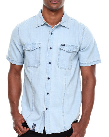 Lrg - Men Light Blue Vacation Club S/S Button-Down
