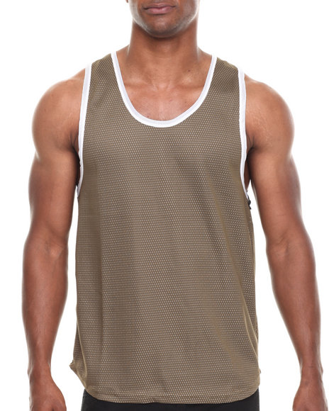 Brooklyn Sky - Men Olive Mesh Vintage Tank Top