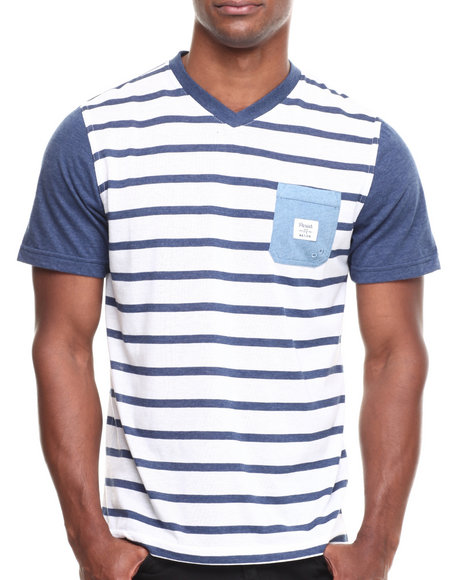 Parish Blue,White Indigo Stripe V-Neck T-Shirt
