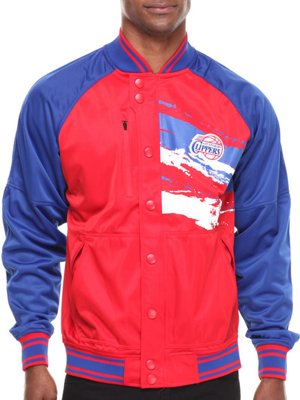 Nba, Mlb, Nfl Gear - Men Blue,Red Los Angeles Clippers Kareem Varsity Jacket