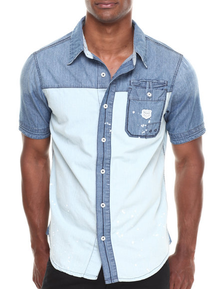 Parish Light Blue Chambray S/S Button-Down