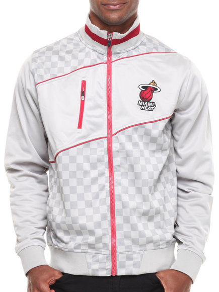 Nba, Mlb, Nfl Gear - Men Grey Miami Heat Drive Track Jacket