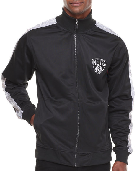 Nba, Mlb, Nfl Gear - Men Black Brooklyn Nets Blueprint Track Jacket