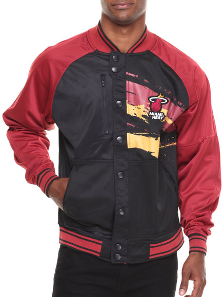 Nba, Mlb, Nfl Gear - Men Black,Dark Red Miami Heat Kareem Varsity Jacket
