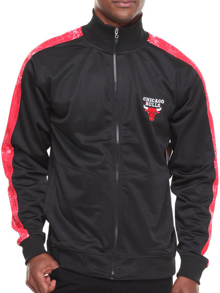 Nba, Mlb, Nfl Gear - Men Black,Red Chicago Bulls Blueprint Track Jacket