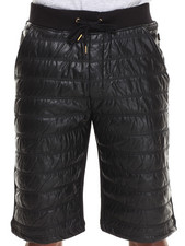 Men - Bora Quilted Striped Vegan Leather Front French Terry Short