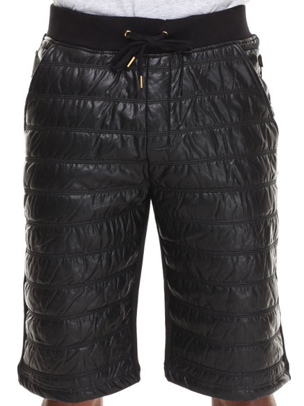 Akademiks Black Bora Quilted Striped Vegan Leather Front French Terry Short