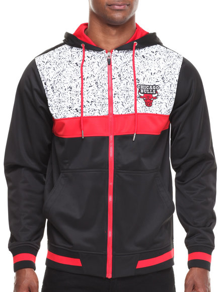 Nba, Mlb, Nfl Gear - Men Black,Red Chicago Bulls Bugsy Colorblock Hoodie