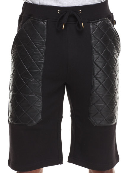 Akademiks Black Khamsin French Terry Short W/ Diamond Quilted Vegan Leather Pockets