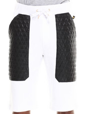 Men - Frua French Terry Short w/ Quilted Triangle Print Vegan Leather Pockets