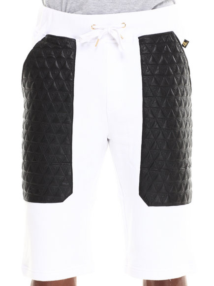 Akademiks - Men White Frua French Terry Short W/ Quilted Triangle Print Vegan Leather Pockets