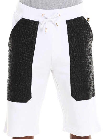 Akademiks - Men White Mistral French Terry Short W/ Quilted Croc Print Vegan Leather Pockets