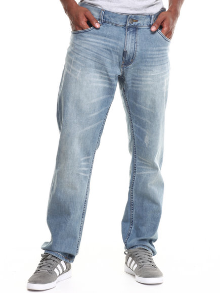 Lrg - Men Medium Wash One Two Tree Four Seven True-Straight Jeans